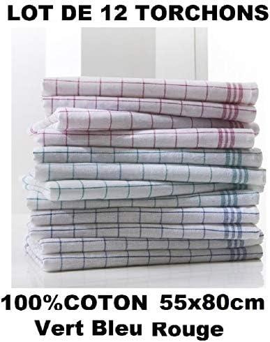 Lot de 4 X Torchons à carreaux avec Attache 55x80 cm 100/% Coton