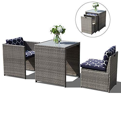 OC Orange-Casual 3 Piece Outdoor Patio Furniture Set Cushioned Rattan Wicker Conversation Dining Bistro Chair and Table   Space Saving Design   Garden Lawn – Grey & Navy Blue