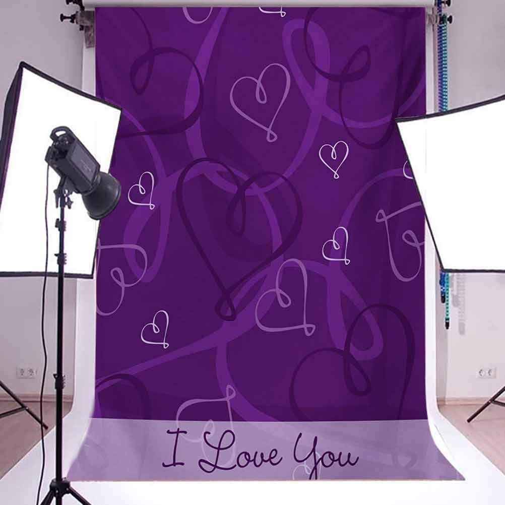 Romantic 6.5x10 FT Photography Backdrop Lavender Colored Romantic Themed Image with Hand Drawn Hearts Image Background for Baby Shower Birthday Wedding Bridal Shower Party Decoration Photo Studio