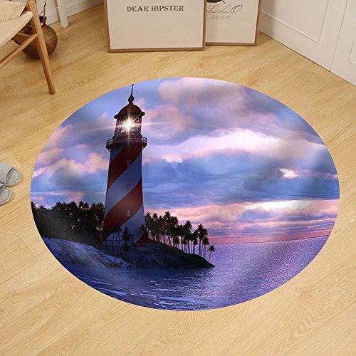 Gzhihine Custom round floor mat Lighthouse on an Island on the Tropical (Round Island Lighthouse)