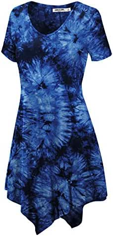 LL Womens Short Sleeve All Over Tie-Dye Ombre Tunic Shirt - Made in USA