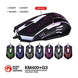 MARVO KM400 Gaming Keyboard LED Mouse and Large Mouse pad Combo 3 Color Backlit Keyboards 7 Color 2400DPI Mice 27.6\