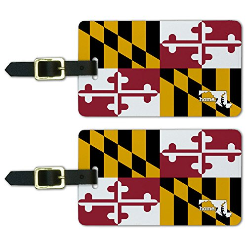 Graphics & More Maryland Md Home State Luggage Suitcase Id Tags-Flag, White