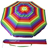 Cheap AMMSUN 6.5 ft Outdoor Patio Beach Umbrella Sun Shelter with Tilt Air Vent Carry Bag Multicolor Red
