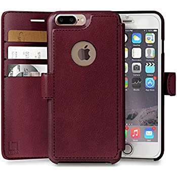 quality design c26a6 3c9a3 iPhone 8 Plus Wallet Case, Durable and Slim, Lightweight with Classic  Design & Ultra-Strong Magnetic Closure, Faux Leather, Burgundy, Apple 8 Plus