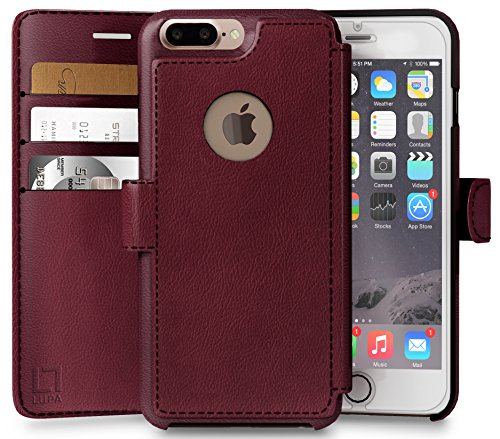 iPhone 8 Plus Wallet Case, Durable and Slim, Lightweight with Classic Design & Ultra-Strong Magnetic Closure, Faux Leather, Burgundy, Apple 8 Plus