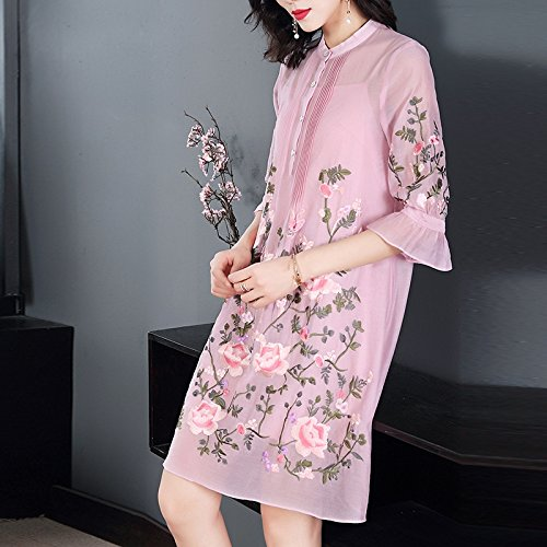 vestido Era Rosa Playa Suelto Encaje Fina Xuanytp vestido gasa vestido Temperamento Vestido falda De Larga Pink Párrafo 1nqvX
