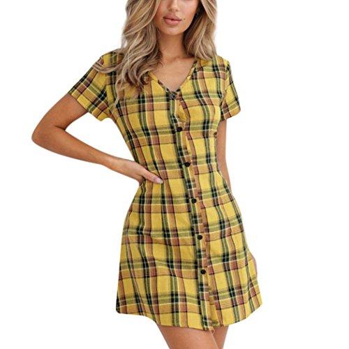 DIANA'S Dress, Women Fashion Plaid Short Sleeve O-Neck Mini (Plaid Dress)