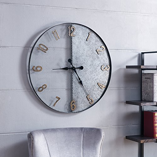 (Carbon Loft Wozniak Galvanized Silver Oversized Wall Clock)