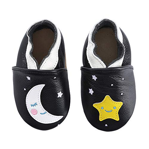 Unicorn Baby Moccasins Girl and Boy Soft Leather Toddler First Walker Shoes 0-6-12-18-24 Months (6-12 Months M US Infant, Moon Stars)