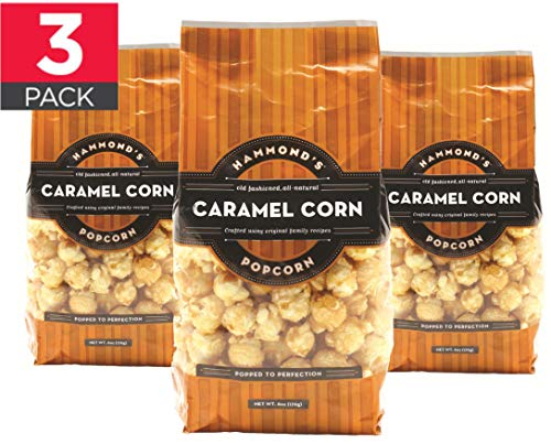 Caramel Popcorn Gourmet Popcorn (3pack) - Hand Made, Small Batch, Kettle Coated Caramel Corn by Hammond's Candies with Premium Ingredients Including Real Butter and Brown Sugar