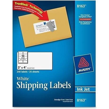 Amazon 8163 Avery Address Label 2 Width X 4 Length 250
