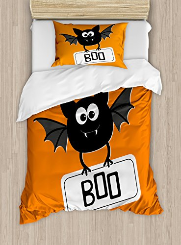 Halloween Duvet Cover Set by Ambesonne, Cute Funny Bat with Plate Boo Fangs Scare Frighten Seasonal Cartoon Print, 2 Piece Bedding Set with 1 Pillow Sham, Twin / Twin XL Size, Orange Black White (Cute Halloween Ideas For Toddlers)