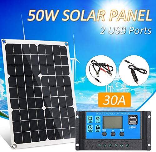 Lilideni 50W DC 5V / 18V Dual Output Solarpanel mit 2 USB-Anschlüssen und IP65-Wasserdichtigkeitsregler für 12V / 24V Solarladeregler PWM Intelligenter Regler