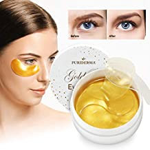 Natural Gold Gel Eye Mask, Collagen Anti-Aging Under Eye Patches, Reduce Wrinkles, Fine Lines, Puffiness, Crow's Feet, Dark Circles, Dryness by Puriderma