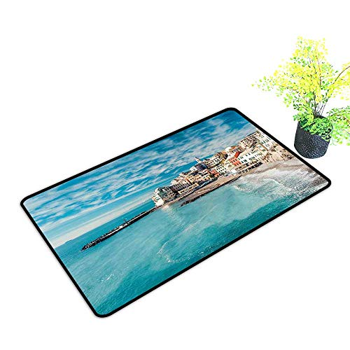 - Zmstroy Outdoor Door mat Italy Panorama of Old Italian Fishing Village Beach in Old Province Coastal Charm Image W24 xL35 Indoor Outdoor, Waterproof, Easy Clean Turquoise