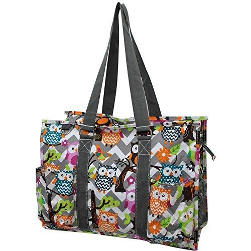 Owl Town Gray Chevron Print NGIL Large Zippered Caddy Organizer Tote Bag -
