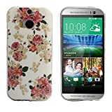 Tonsee Soft TPU Case Cover for HTC ONE M8 (Floral Jacquard)