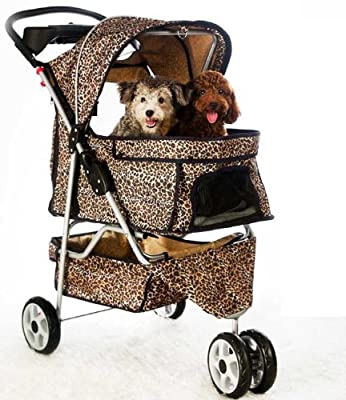 NEW Extra Wide Leopard Skin 3 Wheels Pet Dog Cat Stroller With RainCover from Bestpet