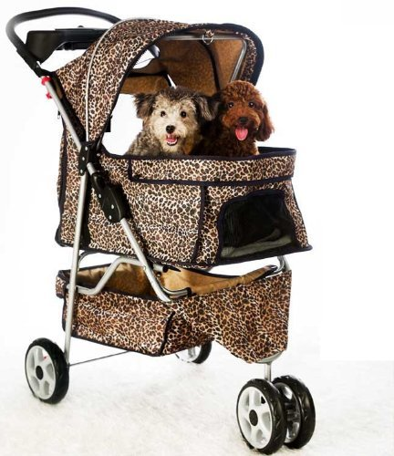 New Extra Wide Leopard Skin 3 Wheels Pet Dog Cat Stroller with RainCover by BestPet