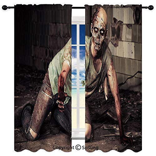 RWNFA Semi Sheer Curtains for Bedroom Living Room Set of 2 Panels,Halloween Scary Dead Man in Old Building with Bloody Nightmare Theme 35