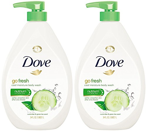 Dove Go Fresh Cool Moisture Body Wash, Cucumber and Green Tea Pump 34 Ounce (Pack of (Bath Gel Moisture)