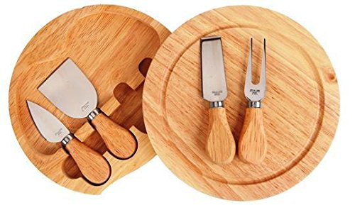 Cheese Cutting Gift 5 Piece with Rubber Wood Cutting Board With 4 Stainless Steel UTENSILS with Wooden Handles
