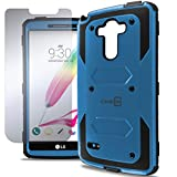 G Stylo Case, CoverON [Tank Series] Tough Hybrid Hard Armor LCD Cover Protective Phone Case (Blue & Black) & Screen Protector For LG G Stylo