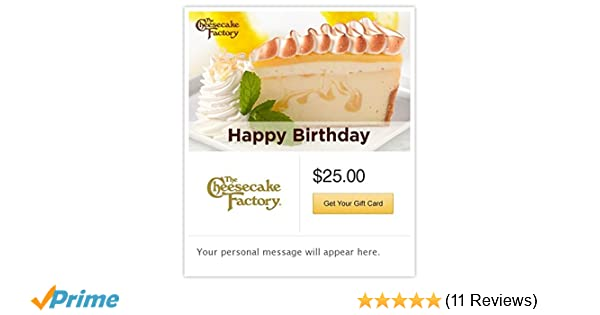 Amazon The Cheesecake Factory Happy Birthday Lemon Meringue Gift Cards