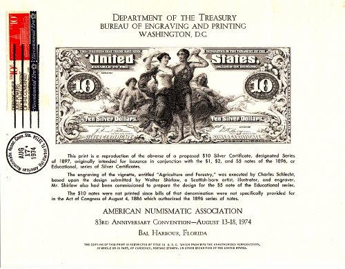 currency Replica Face of U.S. $10 Silver Dollar Certificate, by American Numismatic Association, 1974
