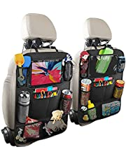 Car Organizer Back Seat, Car Seat Accessory, Backseat for Kids with USB Headphone Slits,10 Storage Packs for Kid Snacks Toys Drinks Books Pens, Backseat Car Organizer for Road Trip (2 Pack)