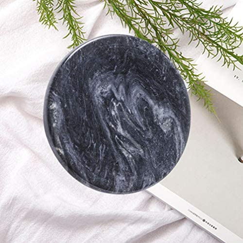Vosarea 大理石のジュエリープレート皿小物収納トレイラウンドデザートサービングプレートスナック皿多目的収納トレイ用ホームパーティー