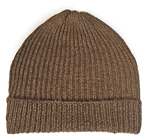 (Ribbed Stocking Cap - 100% Alpaca Wool - Traditional Fisherman Style for Work or Fashion Unisex Durable All Weather Hat (Walnut))