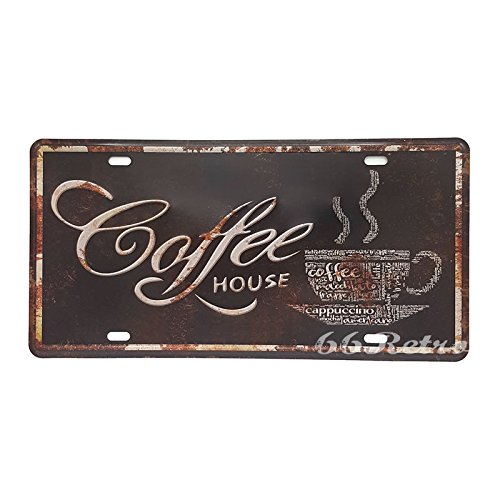 66Retro Coffee House, Embossed Vintage Tin Sign, Retro Auto License Plate, 30cm x 15cm
