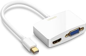 UGREEN 10427 Mini DisplayPort HDMI + VGA (D-Sub) Blanco adaptador de cable de vídeo - Adaptadores de cable de vídeo (Mini DisplayPort, HDMI + VGA (D-Sub), Macho, Hembra, Oro, Blanco)
