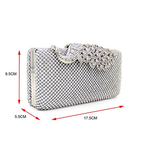 Weddinghelper Clutch Purses Sliver Peacock for Women Luxury Rhinestone Crystal Evening Clutch Bags Vintage Party (sliver)