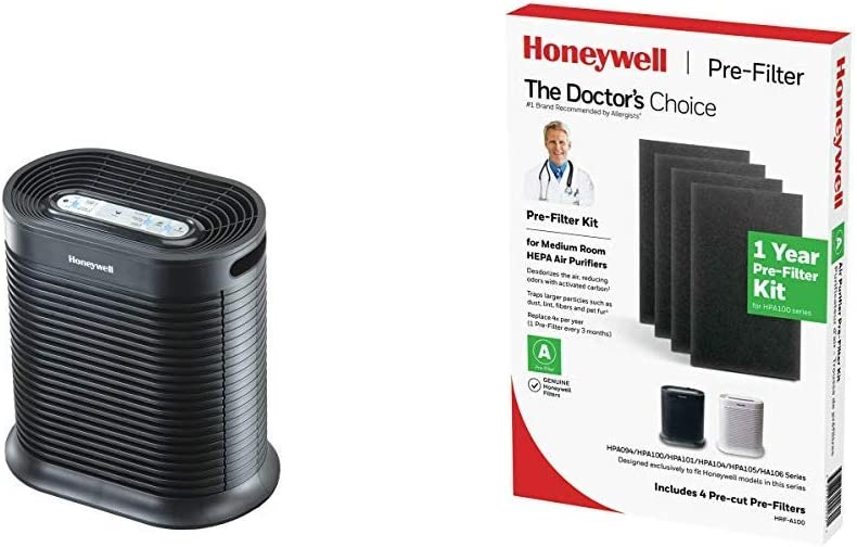 HONEYWELL True HEPA Air Purifier with Allergen Remover-Black, HPA100, Medium Room HRF-A100 Pre Kit air Purifier Filter, Black