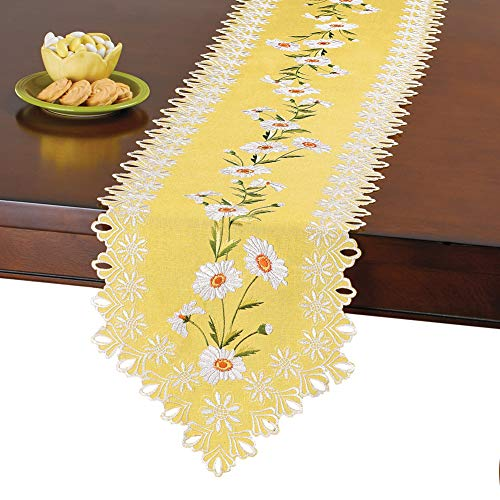 Collections Etc Exquisite Yellow Daisy Embroidered Floral Table Linens with Cutout Details, Runner