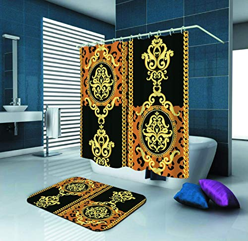 (Cheetah Leopard Pattern Gold On Black and Animal Shower Curtain and Waterproof Polyester Fabric Shower CurtainWith 12 Hooks and 60