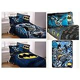 DC Comics Batman Kids Full Guardian Speed Bedding Set - Reversible Comforter, Sheet Set with Two Reversible Pillowcases and Plush Throw Blanket