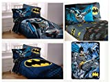 DC Comics Batman Kids Full Guardian Speed Bedding Set - Reversible Comforter, Sheet Set with Two Reversible Pillowcases and Plush Throw Blanket
