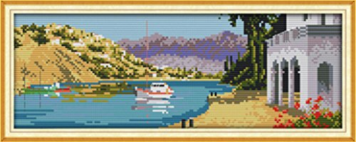 The Mediterranean Sea Port Scenery Painting 11CT Pattern Pri