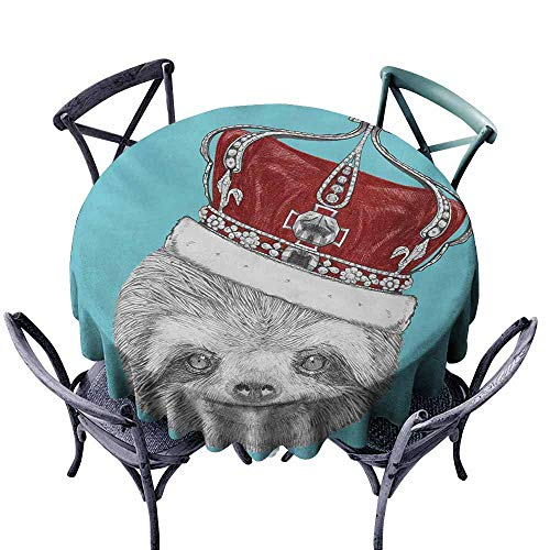 Wpckgki Dust-Proof Tablecloth Sloth Cute Hand Drawn Animal with Imperial Ancient Crown King of Laziness Theme Aqua Burgundy Grey and Durable D51