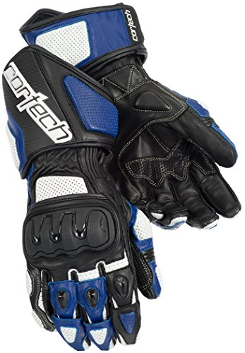 Cortech Impulse RR Men's Leather Racing Motorcycle Gloves (White/Blue, Medium) ()