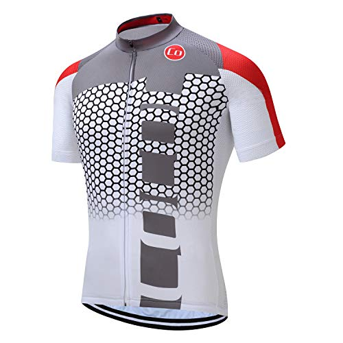 Coconut Men's Shorts Sleeve Cycling Jersey Tops Bike Clothing Biking Shirt with 3 Pockets (White&red, -