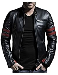 Aries Leathers Men's Real Lambskin Leather Genuine Motorcycle Jacket MJ53