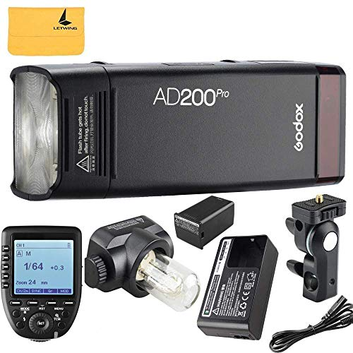 (Godox AD200Pro TTL 2.4G HSS 1/8000s Pocket Flash Light Double Head 200Ws with 14.4V/2900mAh Lithium Battery and Godox XPro-N Flash Trigger Compatible for Nikon Camera)