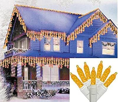 Sienna Yellow Gold LED M5 Icicle Christmas Lights with White Wire, Set of 70