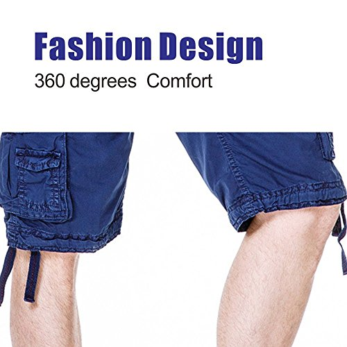Men's Cotton Cargo Shorts Elastic Waist Loose Fit Pants Boys Summer Outdoor (32,Dark Blue) by MOACC (Image #3)