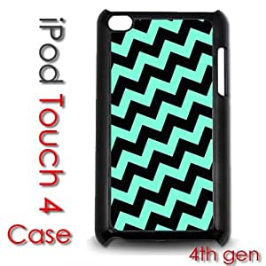 IPod Touch 4 4th gen Touch Plastic Case - Teal and Black Chevron Stripes